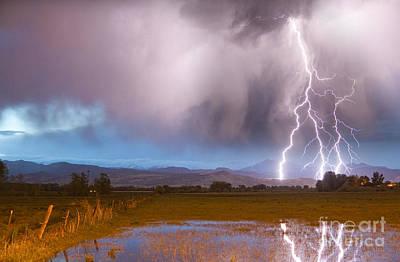 Lightning Photograph - Lightning Striking Longs Peak Foothills 6 by James BO  Insogna