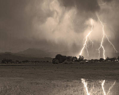 Energy Photograph - Lightning Striking Longs Peak Foothills 8c Sepia by James BO  Insogna