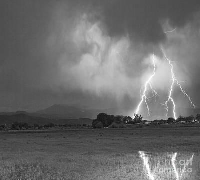 Photograph - Lightning Striking Longs Peak Foothills 8cbw by James BO Insogna