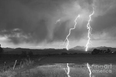 Lightning Striking Longs Peak Foothills Bw Original