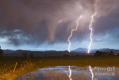 Lightning Striking Longs Peak Foothills Art Print