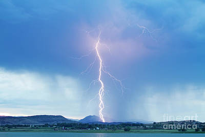 Lightning Twine Striking The Colorado Rocky Mountain Foothills Art Print