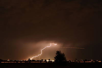 Thunderstorm Photograph - Lightning With Plane Trail by Jennifer Brindley