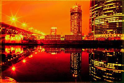 Lights On River Art Print