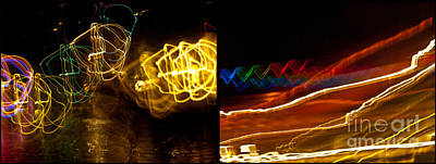 Photograph - Lights On The River Diptychs by Ken Frischkorn