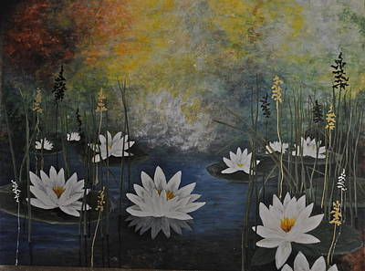 Lilly Pond Painting - Liilies On The Pond by Diana Ochoa