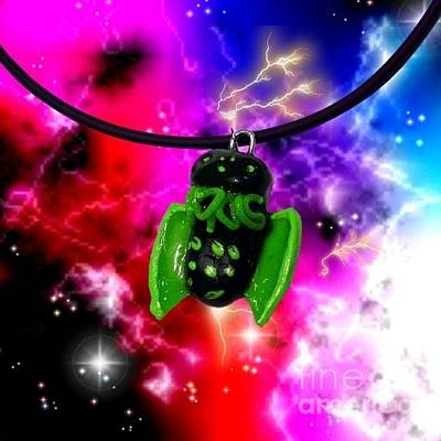Jewelry - Lil Cthulhu Lovecraft Alien Cartoon Necklace Awake by Pet Serrano