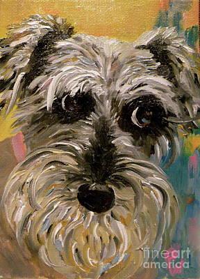 Schnauzer Puppy Painting - Li'l Millie by Patsy Walton
