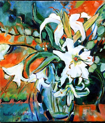 Wall Art - Painting - Lilies And Eucalyptus  by Pauline Hauder