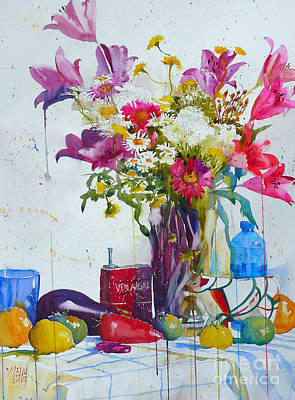 Lilies And Piggy Bank Art Print by Andre MEHU