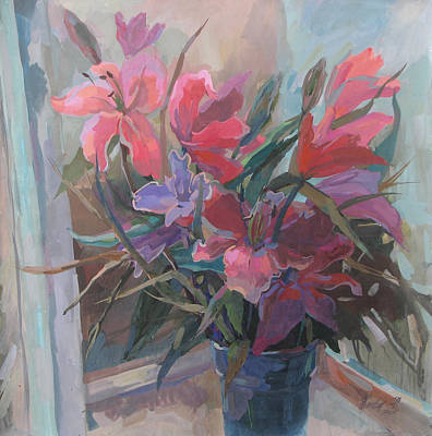 Painting - Lilies On A Window by Juliya Zhukova