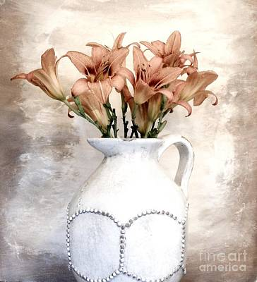 Lilies Pitcher Art Print by Marsha Heiken