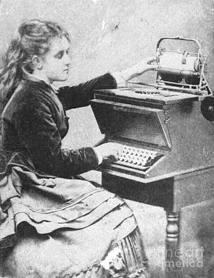 Typewriter Photograph - Lillian Sholes, The First Typist, 1872 by Science Source