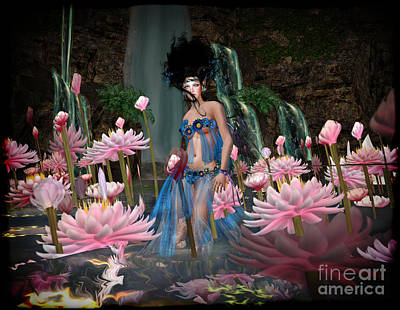 Angel Mermaids Ocean Digital Art - Lillies by Georgina Hannay