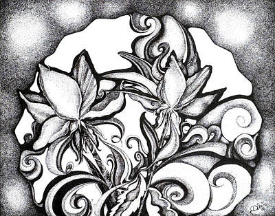 Drawing - Lily Garden by Danielle Scott