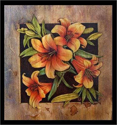 Pyrography Pyrography - Lily Happy by Cynthia Adams