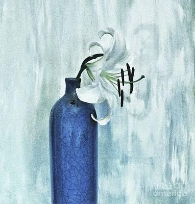 Lily In Blue Art Print by Marsha Heiken