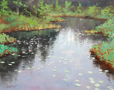 Lilies Paintings - Lily Pond Reflections by Graham Gercken