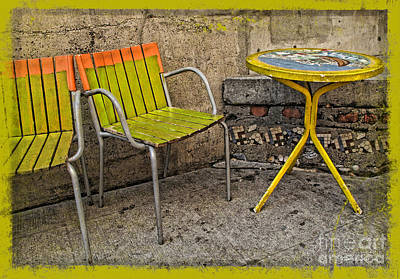 Photograph - Lime Chairs by Joan  Minchak