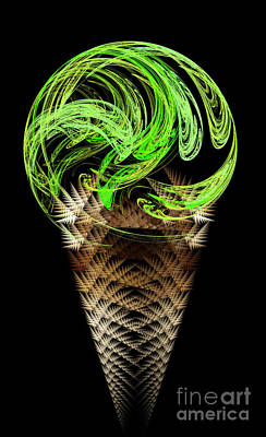 Digital Art - Lime Ice Cream Cone by Andee Design