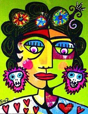 Lime Sugar Skull Frida Art Print