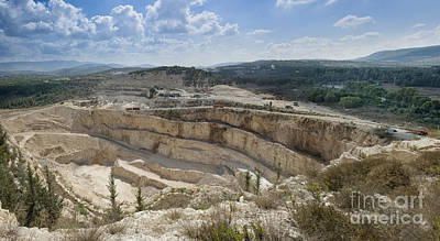 Limestone Quarry In Israel Art Print by Noam Armonn