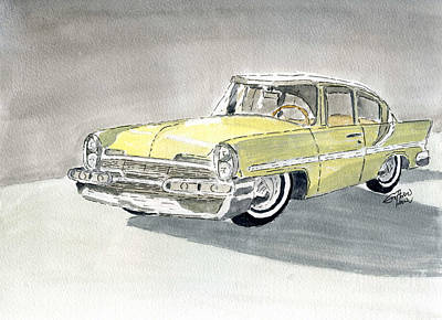 Painting - Lincoln Capri 1957 by Eva Ason