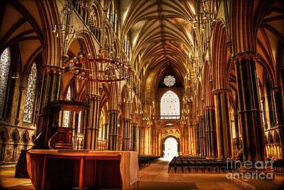 Photograph - Lincoln Cathedral Altar And Nave by Yhun Suarez