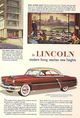 Lincoln Drawings Digital Art - Lincoln Cosmopolitan 1952 by Georgia Fowler