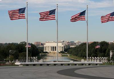Photograph - Lincoln Memorial Flags by Keith Stokes