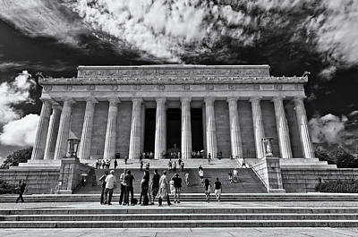 Photograph - Lincoln Memorial In Black And White by Lori Coleman
