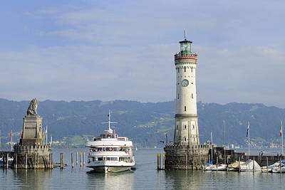 Photograph - Lindau Harbor With Ship Bavaria Germany by Matthias Hauser