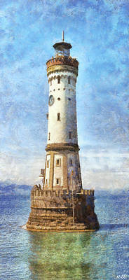 Mixed Media - Lindau Lighthouse In Germany by Nikki Marie Smith