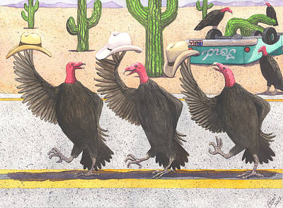 Buzzards Painting - Line Dancing by Catherine G McElroy