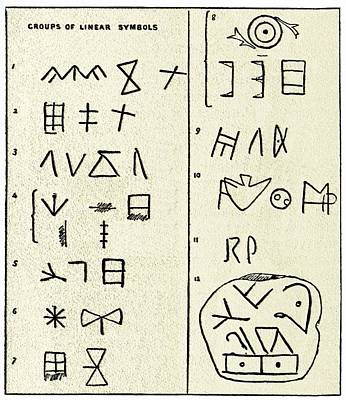 Linear Script Symbols Art Print by Sheila Terry