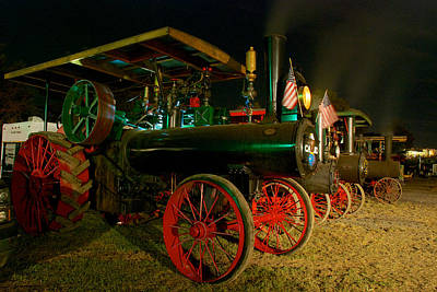 Steam Engine Photograph - Lined At Night by Mark Dodd