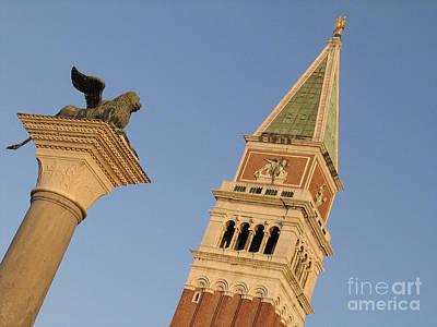 Venise Photograph - Lion And Campanile. Venice by Bernard Jaubert