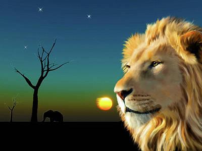 Lion Portrait Painting - Lion Blue Sunset by Michael Greenaway