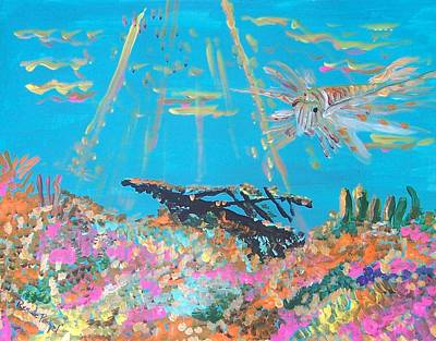 Lion Fish Among The Coral Original by Renate Pampel
