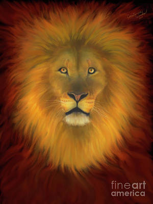 Lion Of Judah Painting - Lion Of Judah Firey Eyes by Constance Woods