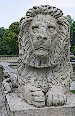 Digital Art - Lion Statue Lake Park by Geoff Strehlow