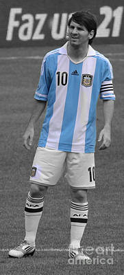 Lionel Andres Messi Black And White Art Print