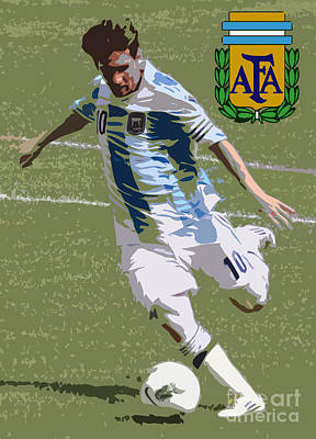 Lionel Messi The Kick Art Deco Art Print