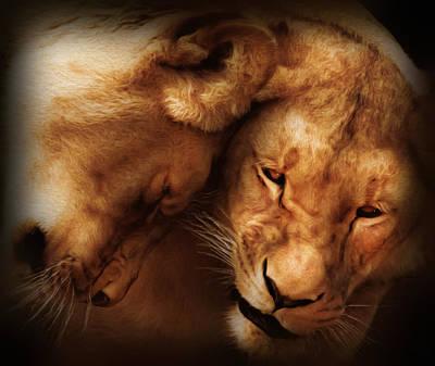Fine Art Cat Digital Art - Lioness Love by Georgiana Romanovna