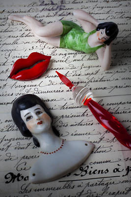 Doll Photograph - Lips Pen And Old Letter by Garry Gay