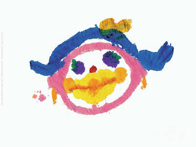 Painting - Lipstick Face by Jessie Abrams Age Six