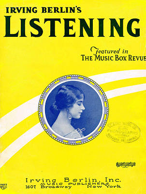 Old Sheet Music Photograph - Listening by Mel Thompson
