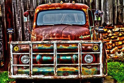 Lit Up Ford Print by Toni Hopper