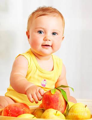 Little Baby Choosing Fruits Art Print by Anna Om