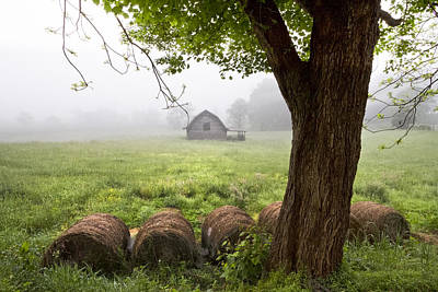 Tennessee Hay Bales Photograph - Little Barn by Debra and Dave Vanderlaan